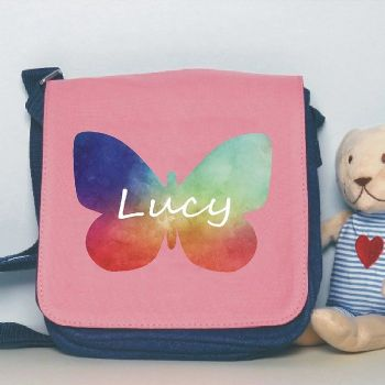 Watercolour Butterfly Design Shoulder Bag - Personalised with Name